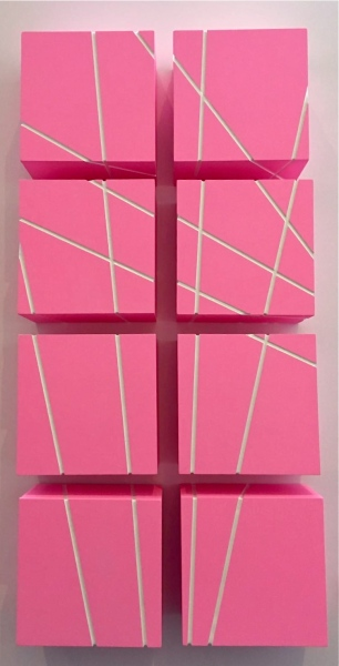 Sweet Grooves, 2017 Acrylic & metal paint on wood 17x17x9.5cm (each cube)
